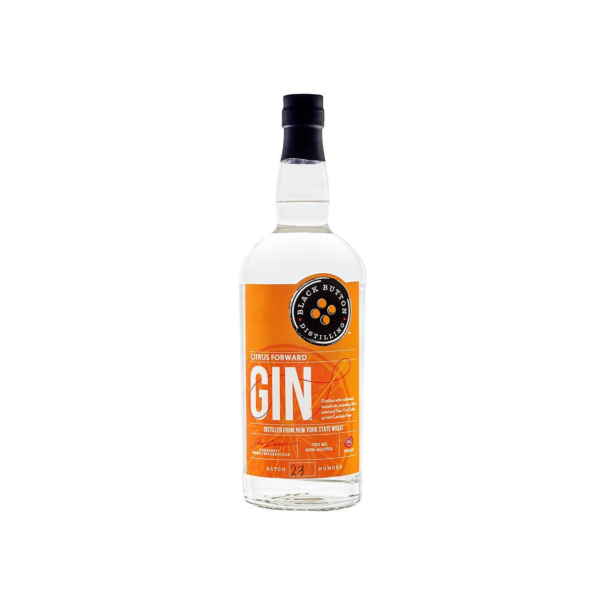 Black Button Citrus Forward Gin bottle