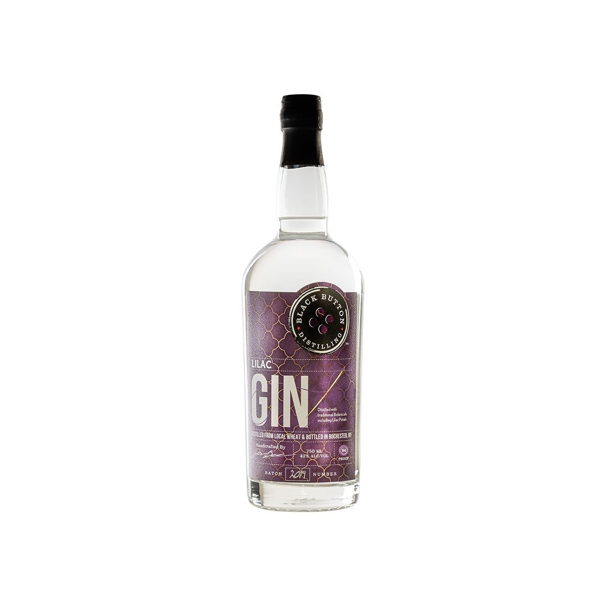 Black Button Distilling Lilac Gin bottle
