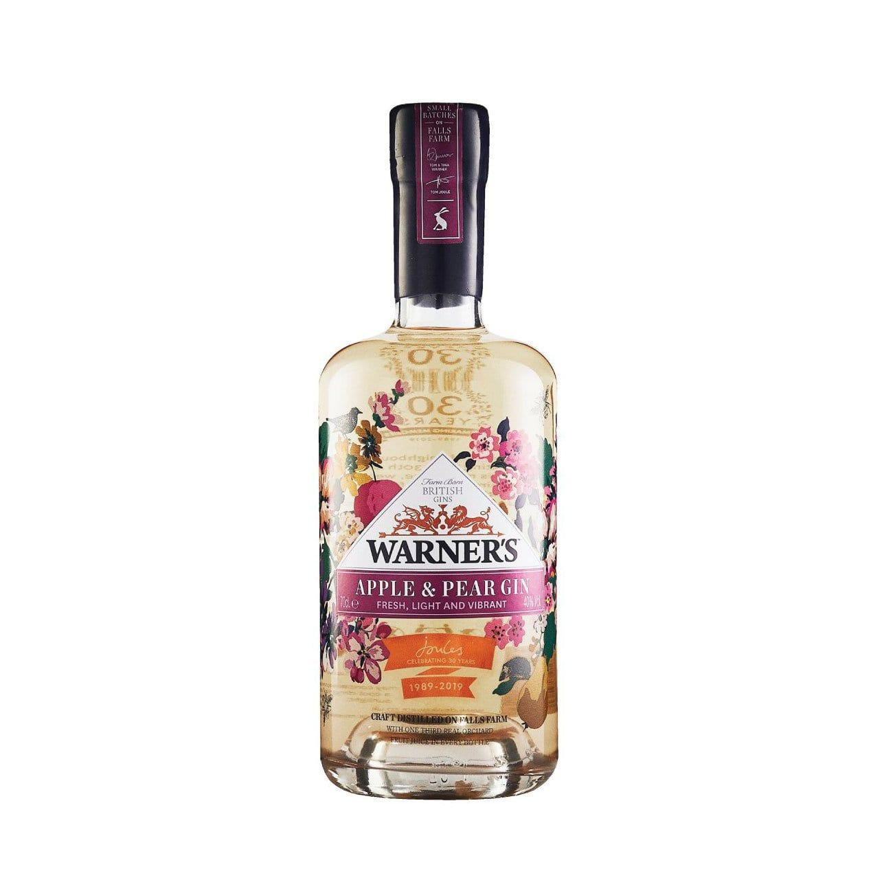 Warner's Apple and Pear Gin Bottle celebrating 30th Anniversary of Joules